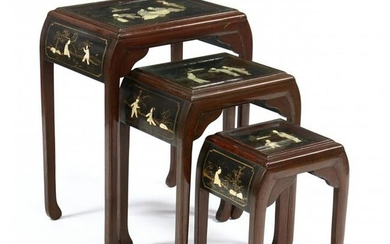 Nest of Three Asian Inlaid Lacquered Side Tables