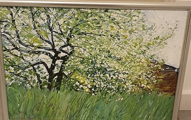 Nils Ryberg: Flowering fruit trees. Signed Nils Ryberg 1989. Oil on canvas. 34×50 cm.