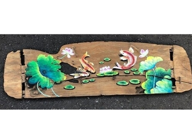 Oriental inspired outdoor or indoor old plank hand painted w...
