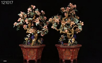 PAIR LACQUER CARVED FLOWER SHAPED BONSAI