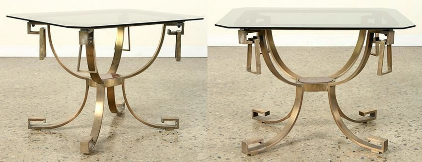 PAIR SOLID BRONZE AND GLASS END TABLES C.1960