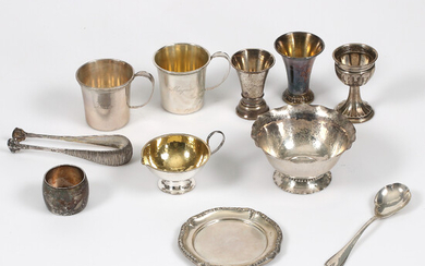 PARTY SILVER, i. a. sugar bowl and tongs, 20th century.