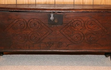 PENNSYLVANIA CARVED OAK CHEST, 19TH C