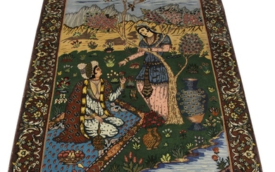PERSIAN TABRIZ PICTORIAL HAND WOVEN WOOL RUG