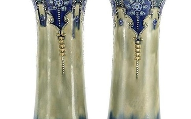 Pair of Art Nouveau Royal Doulton vases, decorated in