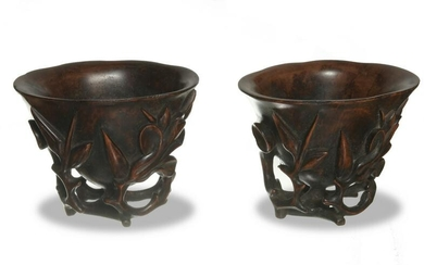 Pair of Chinese Huanghuali Cups, 18-19th Century