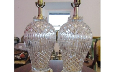 Pair of Cut Crystal Table Lamps with Gilded Bronze Bases Eac...