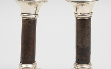 Pair of George V Silver-Mounted Lacquer Candlesticks