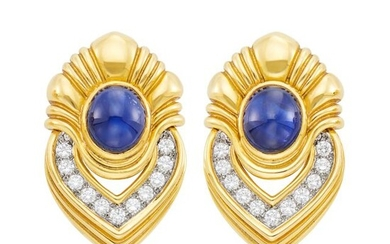 Pair of Gold, Platinum, Cabochon Sapphire and Diamond Earclips