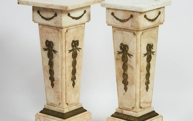 Pair of Louis XVI Style Ormolu Mounted Marble Tapered