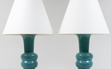 Pair of Turquoise Porcelain Lamps, Designed by