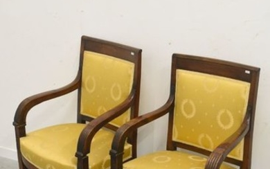 Pair of period restoration armchairs in carved mahogany,...