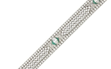 Platinum, Diamond and Emerald Bracelet
