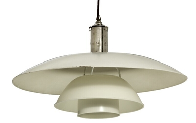 """Poul Henningsen: """"PH-8/6"""". Large pendant with nickel-plated socket house. Shades of white painted copper and zinc. Manufactured by Louis Poulsen."""