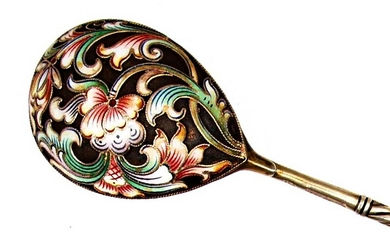 RUSSIAN SILVER CLOISONNE ENAMEL SPOON, MC