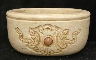 Refined oval font - 30 x 22 cm - Marble Botticino - First half of the 20th century