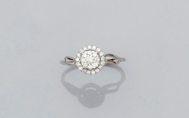 Round ring in white gold, 750 MM, covered with diamonds, size: 52, weight: 1.55gr. rough.