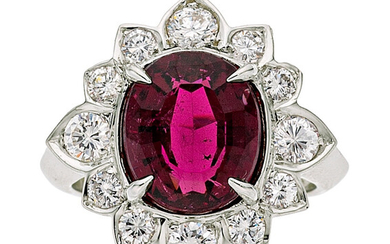 Rubellite Tourmaline, Diamond, White Gold Ring The ring features...
