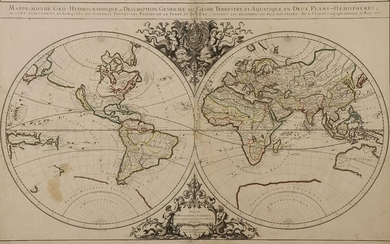 A GOOD SANSON WORLD MAP DATED 1679