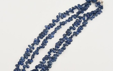 Sapphire Bead, Diamond, 14k White Gold Necklace.