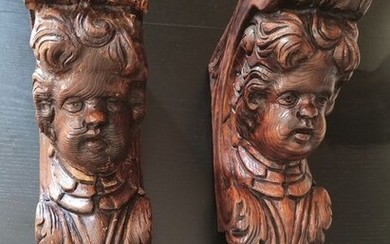 Sculpture, Putti shelf holder (2) - Wood - 18th century