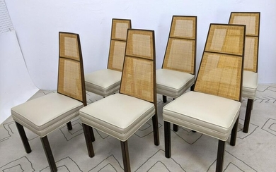Set 6 HARVEY PROBBER Tall Back Dining Chairs. Cane Back