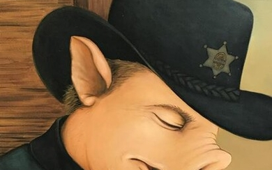 Signed Oil on Canvas Anthropomorphic Pig