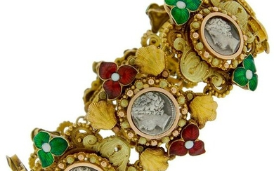 Silver Coin Enamel Yellow Gold Bracelet, French, 1950s