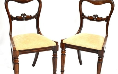 Six 19th century rosewood kidney balloon back dining chairs...