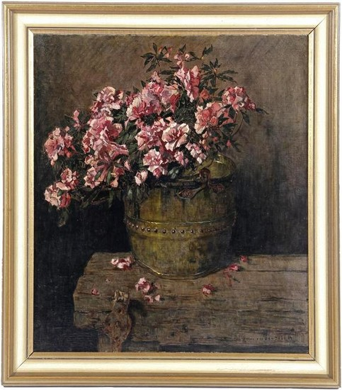 Still life with flowering plant in copper pot, 80x70 cm