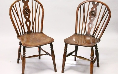 TWO 19TH CENTURY YEW AND ELM WINDSOR DINING CHAIRS,