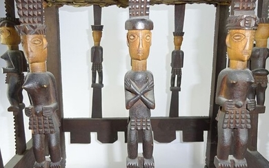 Table chair - wood and leather - Lwena Tsokwe - DR Congo