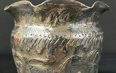 Thai Burmese Silver Hand Hammered Fluted Bowl