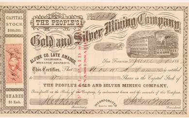 The People's Gold & Silver Mining Company, Monitor District, Amador County #108000