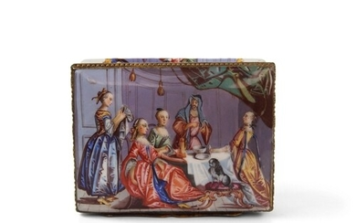 The top prolifically painted with scenes of ladies at tea, b...