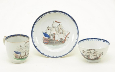 Three Chinese Export porcelain ship decorated items