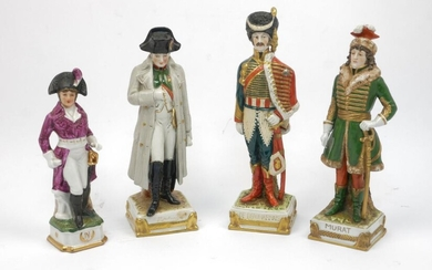 Three German Saxony porcelain figurines depicting French...