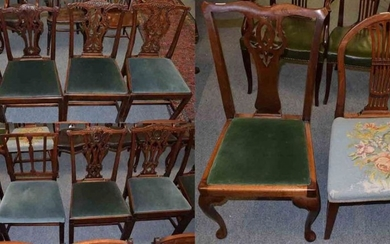 Three pairs of 19th century mahogany dining chairs in the...