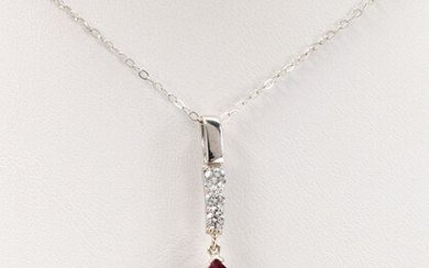 Tourmaline, diamond, 14k white gold pendant-necklace