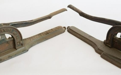 Two Antique CI Advertising Tobacco Plug Cutters