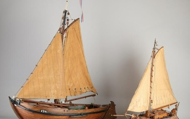 Two old / antique Dutch miniature boats.&#160 Flat