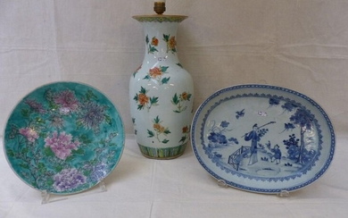 A dish and a basin in blue and polychrome Chinese...