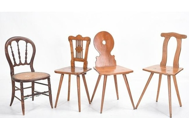 Unusual Set of Eight Walnut Side Chairs and Two Hall
