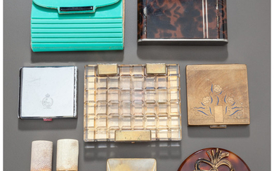 Various makers, A GROUP OF NINE COSMETIC CASES AND PERFUME ATOMIZERS (20th century)