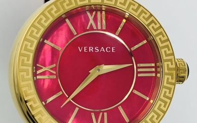 Versace - Leda Red mother of pearl IP Yellow Gold LeatherSwiss Made- VNC190017 - Women - NEW