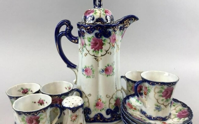 Vintage Hand Painted Porcelain Coffee Set