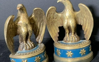 Vintage Pair Brass Eagle Bookends