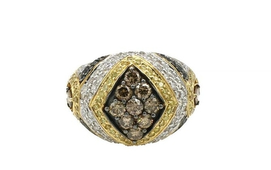 Yellow Gold Pave Diamond and Yellow Sapphire Ring