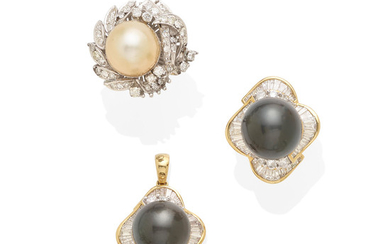 a group of cultured pearl jewelry including two rings and a pendant