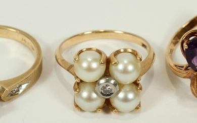 14 KT. YELLOW GOLD RINGS, 3